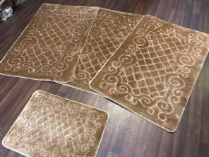 GYPSY TRAVELLERS MATS SETS 4PCS NON SLIP NEW DESIGNS SUPER THICK DARK BEIGE